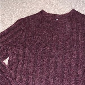robbed high neck maroon sweater